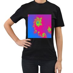 Digital Fractal Spiral Women s T-shirt (black) (two Sided) by Simbadda
