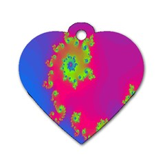 Digital Fractal Spiral Dog Tag Heart (two Sides) by Simbadda