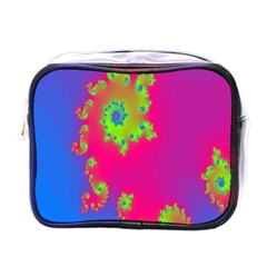 Digital Fractal Spiral Mini Toiletries Bags by Simbadda
