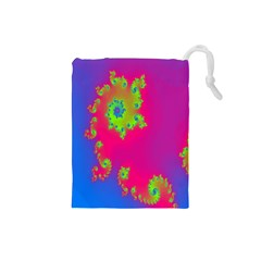Digital Fractal Spiral Drawstring Pouches (small)