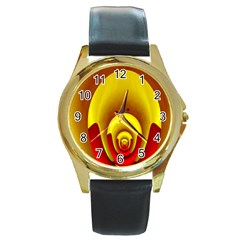 Red Gold Fractal Hypocycloid Round Gold Metal Watch by Simbadda