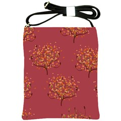 Beautiful Tree Background Pattern Shoulder Sling Bags by Simbadda