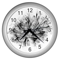 High Detailed Resembling A Flower Fractalblack Flower Wall Clocks (silver)