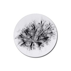 High Detailed Resembling A Flower Fractalblack Flower Rubber Coaster (round)  by Simbadda