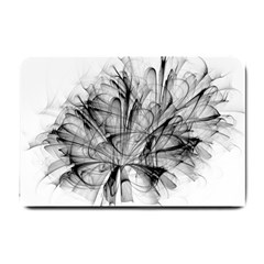 High Detailed Resembling A Flower Fractalblack Flower Small Doormat  by Simbadda