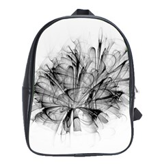 High Detailed Resembling A Flower Fractalblack Flower School Bags(large)  by Simbadda