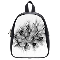 High Detailed Resembling A Flower Fractalblack Flower School Bags (small)  by Simbadda