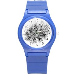 High Detailed Resembling A Flower Fractalblack Flower Round Plastic Sport Watch (s) by Simbadda