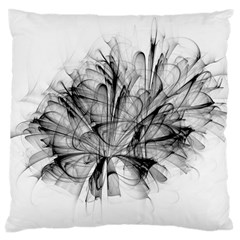 High Detailed Resembling A Flower Fractalblack Flower Large Cushion Case (two Sides)