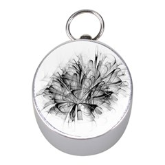 High Detailed Resembling A Flower Fractalblack Flower Mini Silver Compasses