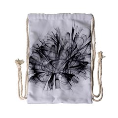 High Detailed Resembling A Flower Fractalblack Flower Drawstring Bag (small) by Simbadda