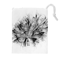 High Detailed Resembling A Flower Fractalblack Flower Drawstring Pouches (extra Large) by Simbadda