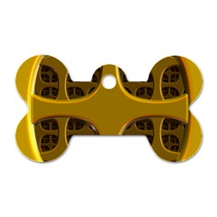 Golden Fractal Window Dog Tag Bone (two Sides) by Simbadda