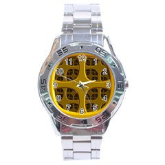 Golden Fractal Window Stainless Steel Analogue Watch by Simbadda