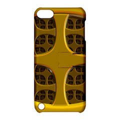 Golden Fractal Window Apple Ipod Touch 5 Hardshell Case With Stand by Simbadda