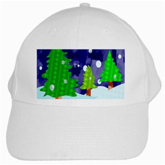 Christmas Trees And Snowy Landscape White Cap by Simbadda