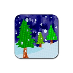Christmas Trees And Snowy Landscape Rubber Square Coaster (4 Pack)  by Simbadda