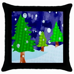 Christmas Trees And Snowy Landscape Throw Pillow Case (black) by Simbadda
