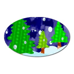 Christmas Trees And Snowy Landscape Oval Magnet by Simbadda