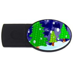 Christmas Trees And Snowy Landscape Usb Flash Drive Oval (2 Gb) by Simbadda