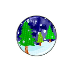Christmas Trees And Snowy Landscape Hat Clip Ball Marker by Simbadda