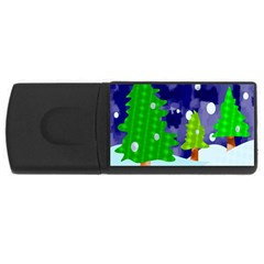 Christmas Trees And Snowy Landscape Usb Flash Drive Rectangular (4 Gb) by Simbadda