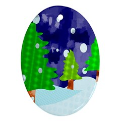 Christmas Trees And Snowy Landscape Oval Ornament (two Sides) by Simbadda