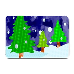 Christmas Trees And Snowy Landscape Small Doormat  by Simbadda