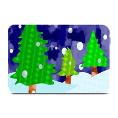 Christmas Trees And Snowy Landscape Plate Mats by Simbadda
