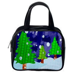 Christmas Trees And Snowy Landscape Classic Handbags (one Side) by Simbadda