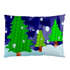Christmas Trees And Snowy Landscape Pillow Case by Simbadda