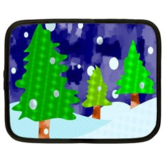Christmas Trees And Snowy Landscape Netbook Case (xxl)  by Simbadda