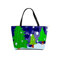 Christmas Trees And Snowy Landscape Shoulder Handbags by Simbadda