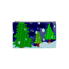 Christmas Trees And Snowy Landscape Cosmetic Bag (small)  by Simbadda
