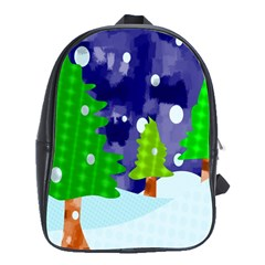 Christmas Trees And Snowy Landscape School Bags(large)