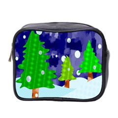 Christmas Trees And Snowy Landscape Mini Toiletries Bag 2 Side by Simbadda