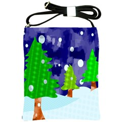 Christmas Trees And Snowy Landscape Shoulder Sling Bags by Simbadda