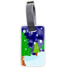 Christmas Trees And Snowy Landscape Luggage Tags (two Sides)