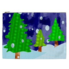 Christmas Trees And Snowy Landscape Cosmetic Bag (xxl)  by Simbadda