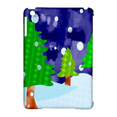 Christmas Trees And Snowy Landscape Apple Ipad Mini Hardshell Case (compatible With Smart Cover) by Simbadda