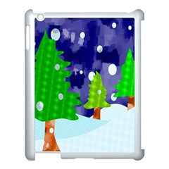 Christmas Trees And Snowy Landscape Apple Ipad 3/4 Case (white) by Simbadda