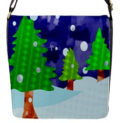Christmas Trees And Snowy Landscape Flap Messenger Bag (s) by Simbadda