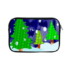 Christmas Trees And Snowy Landscape Apple Ipad Mini Zipper Cases by Simbadda