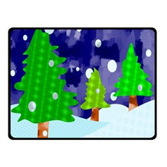 Christmas Trees And Snowy Landscape Double Sided Fleece Blanket (small)  by Simbadda