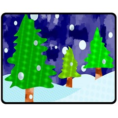 Christmas Trees And Snowy Landscape Double Sided Fleece Blanket (medium)  by Simbadda