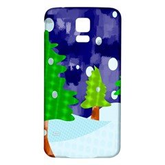 Christmas Trees And Snowy Landscape Samsung Galaxy S5 Back Case (white)
