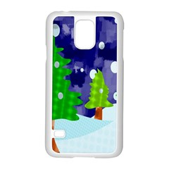 Christmas Trees And Snowy Landscape Samsung Galaxy S5 Case (white)
