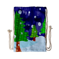 Christmas Trees And Snowy Landscape Drawstring Bag (small)