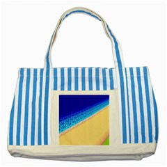 Beach Sea Water Waves Sand Striped Blue Tote Bag by Alisyart