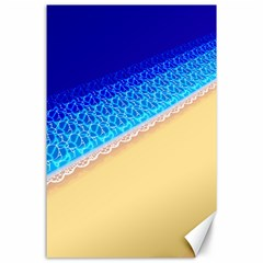 Beach Sea Water Waves Sand Canvas 24  X 36  by Alisyart